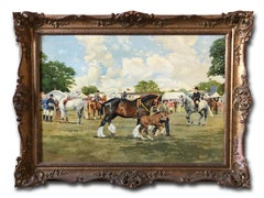 Oil Painting , Horses on a showground in the UK, by R. L. Harvey (1888-1973)