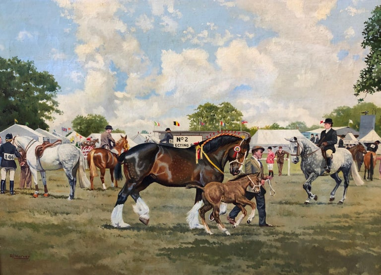 Oil Painting , Horses on a showground in the UK, by R. L. Harvey (1888-1973) - Brown Landscape Painting by R L Harvey