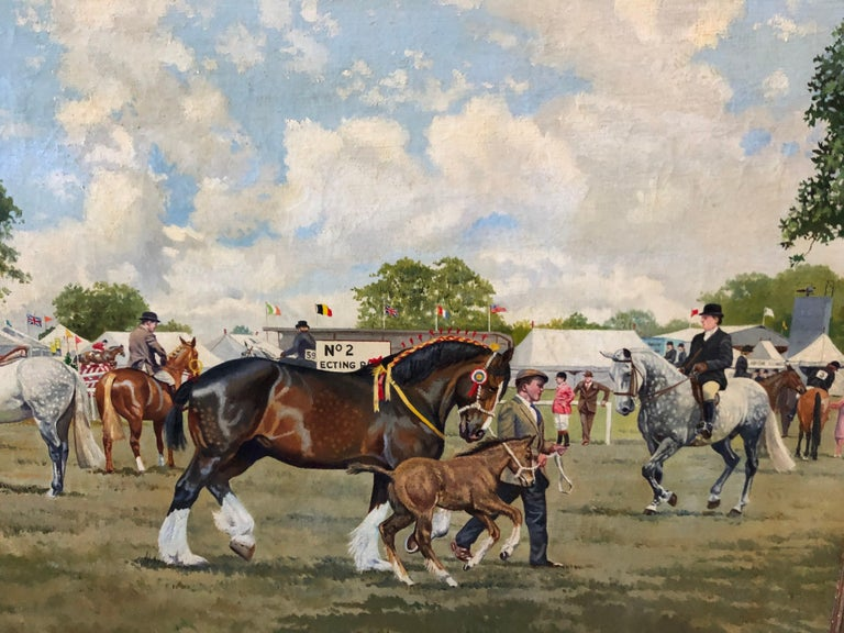 Oil Painting depicting a busy showground in the UK, by R. L. Harvey  ( Reginald Llewellyn 1888 - 1973 ).  Harvey was Born in Southampton England, studied at University College, under E.A. Conway; at Yarmouth School of Art, Norfolk; and at Regent