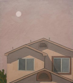 Red Sun, Pink Sunset Architectural Skyscape Painting with Home and Tree