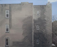 """Building"" Architectural Landscape Painting of Brooklyn Building Windows and Sky"