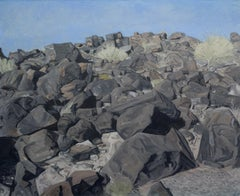 """Rock Pile"" Stone and Boulder American Southwest Landscape Painting, Gray & Blue"