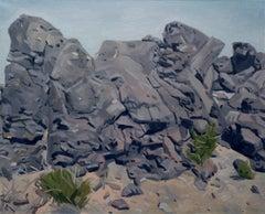 """Volcanic Rocks"" Stone Boulder American Southwest Landscape Painting Gray & Blue"