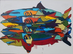 """Four sharks Untitled #4"" Multicolored Shark Painting on Canvas by Michael Myers"
