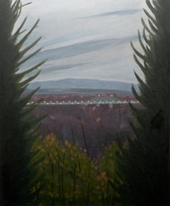 Upstate, Landscape Painting with Forest, Mountains, and Bridge by Will Gabaldon