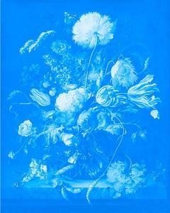 """Vase of Flowers Cyan"" After Jan Davidsz. de Heem Tulips in Blue photograph"