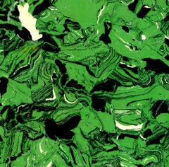 """Abstract Composition VII"" in Green Cream Black Modern Art Spots"