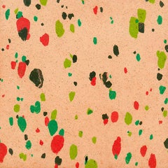 """Abstract Composition XII"" in Pink Red Green Black  Modern Art Spots"