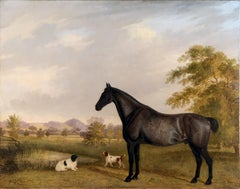 oil Painting horse and spaniel dogs in a landscape, Henry Smith