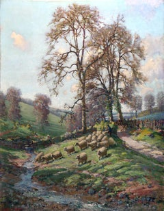 Painting sheep in a Dorset landscape