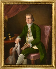 oil Painting portrait of a gentleman and dog , Circle Ralph Earl