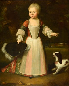 oil Painting of child with a spaniel, 17th 18th Century . Gerard Lanscroon