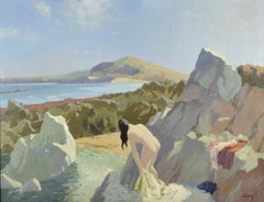 oil Painting  Nude on the beach , the Bather , William George Leech ,