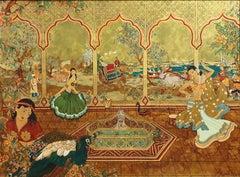 Enamel Painting of Exotic Asian figures dancing, Bead Dancers ,Ann Graham