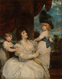 Oil portrait of a mother and here two children, Harrington , Reynolds style ,