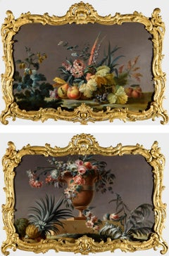 An elegant and exotic pair of oil still lifes of flowers and fruit, Pillement
