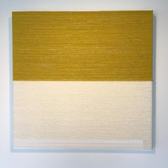CONTEMPORARY TEXTILE ART, Minimalist, Raw Mexican Wool, Yellow and Beige, 2019