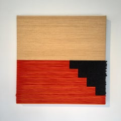 CONTEMPORARY TEXTILE ART, Minimalist, Iranian Wool, Beige Black and Orange, 2019