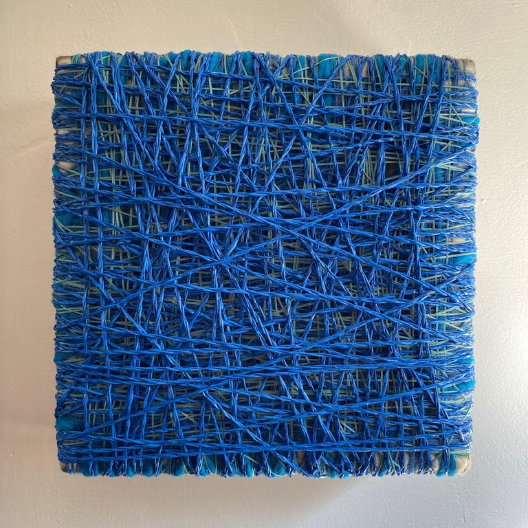 Spacing out on my own two feet 2020 Contemporary Art, Textile Wool, cotton and plastic  About the artist I began using threads due to the memory of an early age image; I was 3 or 4. In 1978, the year I was born, my father made 3 pieces of art on