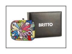 Romero Britto Original Swarovski Crystal Butterfly Clutch Purse Bag Artwork SBO