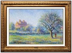 Claude Pissarro Authentic Original Pastel Signed Landscape Painting Art Hughes