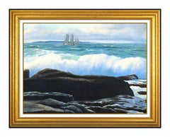William E Baldwin Original Oil Painting On Board Signed Seascape Framed Artwork