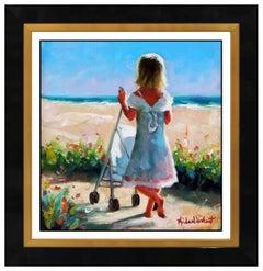 Michael Vincent Oil Painting On Canvas Signed Child Portrait Beach Art Landscape