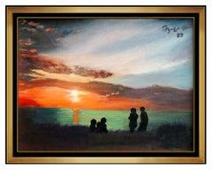 Federico Aguiar Alcuaz Original Oil Painting On Canvas Seascape Sunset Signed