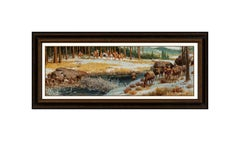 Russ Vickers Original Oil Painting On Board Western Landscape Horse Framed Art