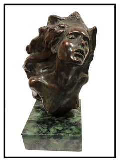 Frederick Hart Firebird Bronze Sculpture Signed Female Bust Full Round Artwork