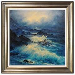 Rosemary Miner Original Oil Painting on Canvas Signed Seascape Framed Artwork