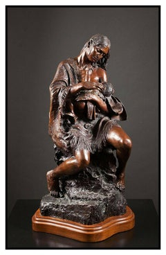 Lorenzo Ghiglieri Original Bronze Sculpture Mother Child Strongest Bond Signed