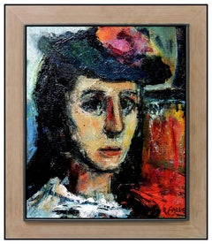 Robert Aaron Frame Original Painting Oil on Canvas Signed Female Portrait Art