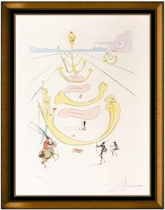 Salvador Dali Color Etching Hand Signed Masque De La Mort Horse Skull Surrealism