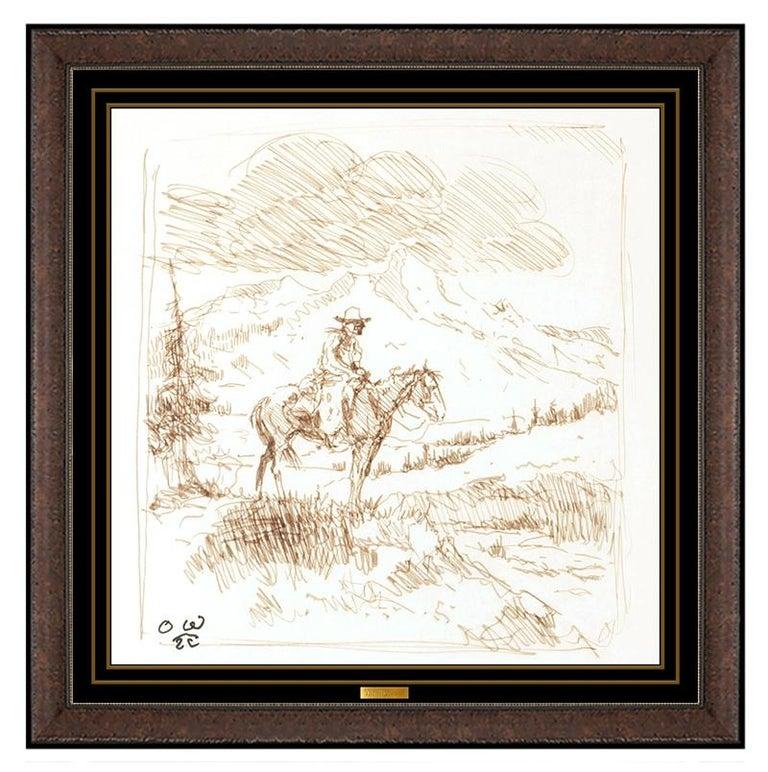 Olaf Wieghorst Original Ink Drawing Cowboy Western Portrait Illustration Signed - Art by Olaf Wieghorst