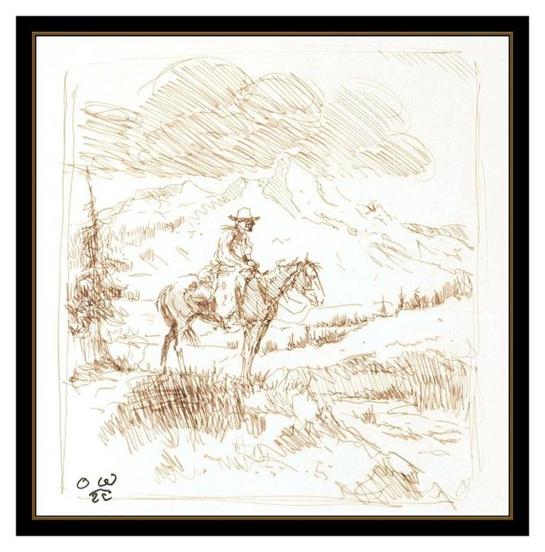 Olaf Wieghorst Original Ink Drawing Cowboy Western Portrait Illustration Signed - Realist Art by Olaf Wieghorst
