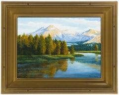 David Chapple Original Oil On Board Painting Signed Water Mountain Landscape Art