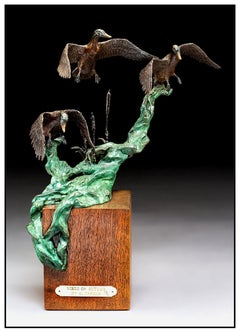 Mike Casper Wings Of Autumn Bronze Duck Sculpture Signed Wildlife Full Round Art
