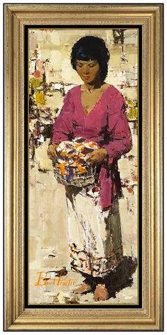 Burt Procter Oil Painting On Board Original Signed Female Portrait Large Artwork