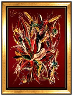 Martiros Manoukian Original Acrylic Painting On Silk Large Signed Floral Artwork