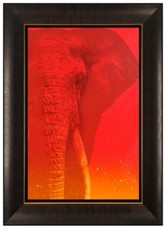 Adam Scott Rote Original Painting on Canvas Signed Elephant Wildlife Animal Art