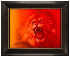 Adam Scott Rote Original Painting on Canvas Signed Sunset Lion Animal Framed Art