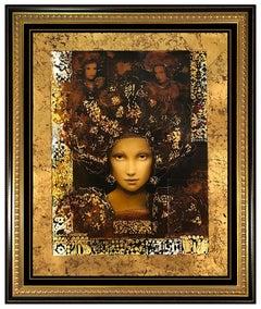 Csaba Markus Panonia Large Embellished Giclee Signed Female Portrait Framed Art