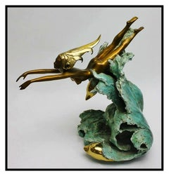 Angel Basso Original Bronze Sculpture Companions Nude Female Sealife Signed Art