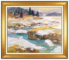 Dale Ratcliff Large Original Oil Painting On Boardd Signed Maine Landscape Art