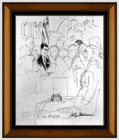LeRoy Neiman Original Ink Drawing Signed Chicago Political Portrait Framed Art