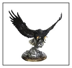 Chester Fields Large Scale Attack Bronze Eagle Sculpture Signed Full Round Art