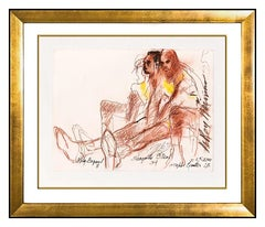 LeRoy Neiman Pastel Drawing Kobe Bryant Shaquille Oneal Shaq Signed Basketball