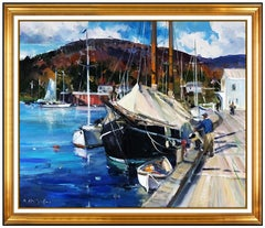 Dale Ratcliff Large Original Painting Oil On Canvas Signed Maine Harbor Artwork