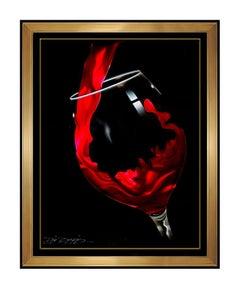 Chris DeRubeis Original Red Wine Pour Acrylic Painting On Metal Signed Artwork
